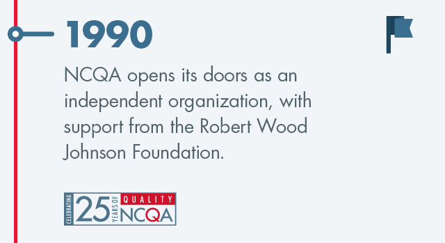 In 1990 NCQA opens its doors as an independent organization, with support from the Robert Wood Johnson Foundation.